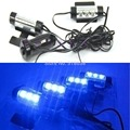 4x3LED Car Interior Decor Lamp 12V Blue Glow Car Charge 4 IN 1 Atmosphere Light