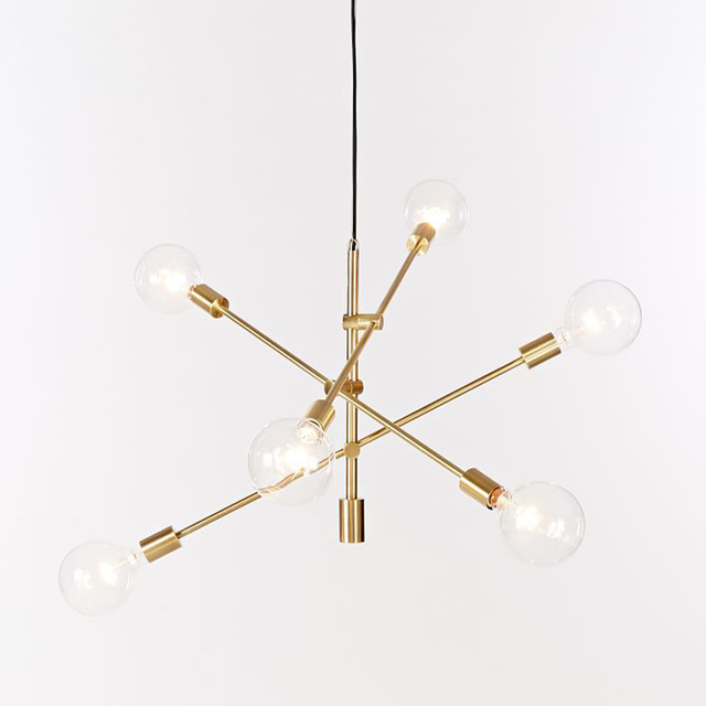 Nordic round glass ball ceiling hanging chandelier light lamp gold
