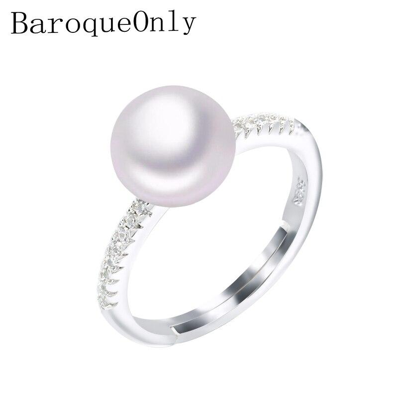 Baroqueonly 2018 Mode Perle Ring Natürliche Süßwasser Perle Ringe 8-9mm Aaa Zirkon 925 Sterling Silber Schmuck Ringe Für Frauen Stabile Konstruktion