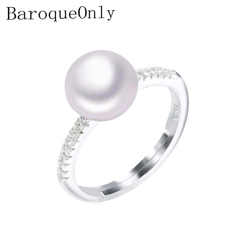 BaroqueOnly 2019 Fashion Pearl Ring Natural Freshwater Pearl Rings 8-9mm AAA Zircon 925 Sterling Silver jewelry Rings For Women