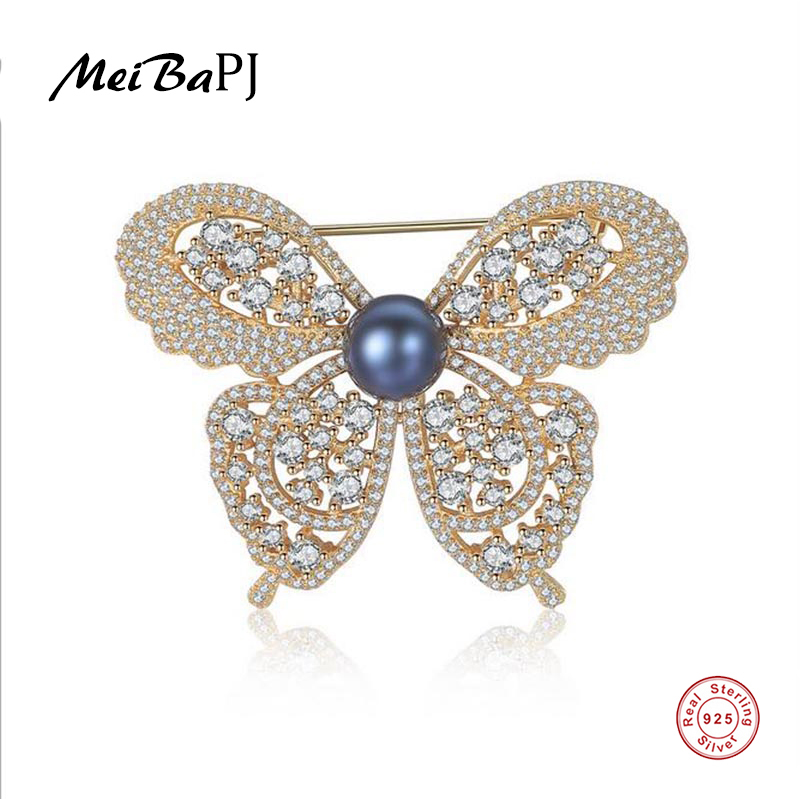 Breastpin Pearl Brooch Fine-Jewelry Silver Natural Real Meibapj Women for Luxourious