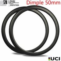 700c Dimple Carbon Rim Clincher Tubular Tubeless Golf Finishig For Road Bike Cyclocross Gravel Wheel 50mm Detph 25mm Width