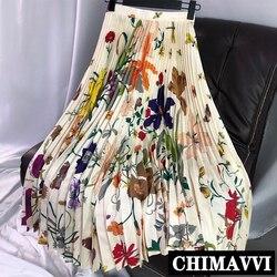 Nueva primavera y verano de gama alta acuarela impresa larga Falda plisada de mujer de cintura alta delgada hasta el tobillo faldas