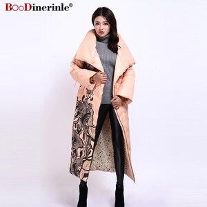 Image 5 - Winter Jacke Frauen X Lange Druck Dünne Dicke Weiße Ente Unten Mantel Elegante Mode Weibliche Warme Mantel BOoDinerinle YR159