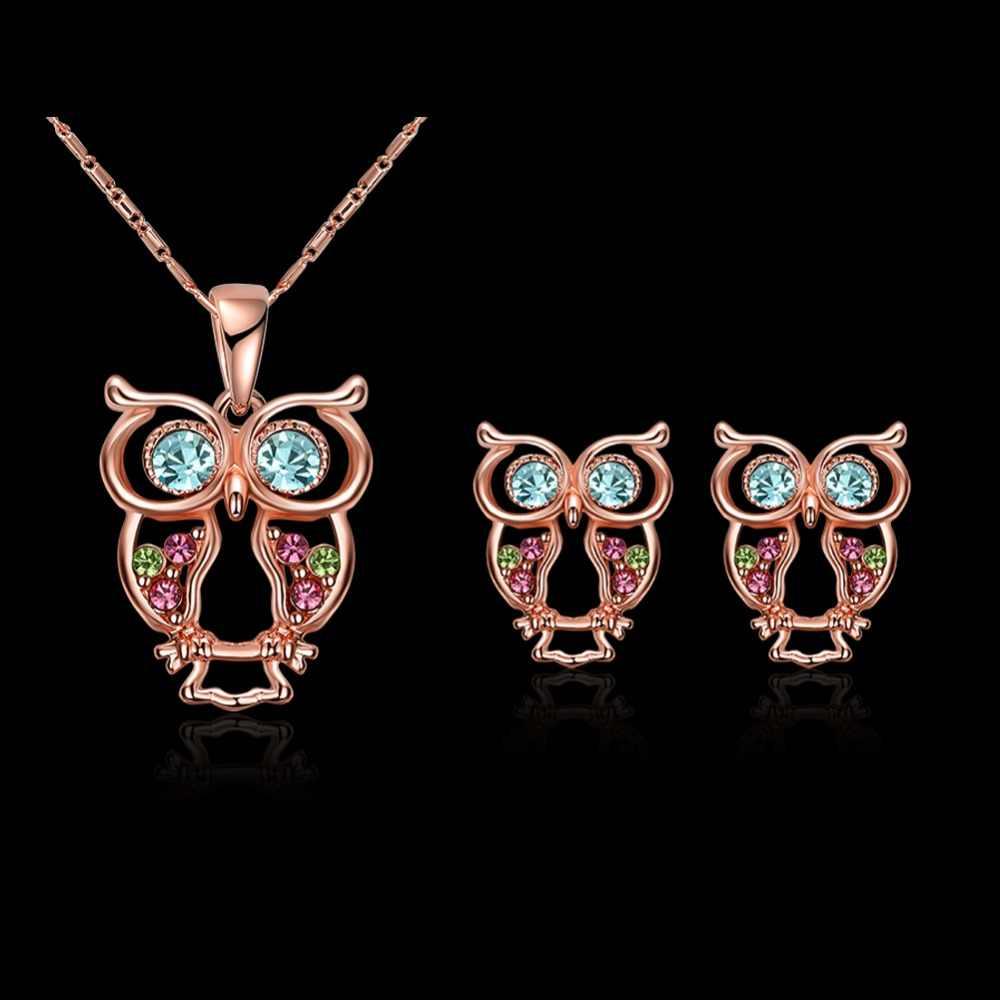 MEEKCAT милое ожерелье с совой сережкой комплекты ювелирных изделий цветной кристалл розового золота цвет ювелирных изделий сверкающий набор ювелирных изделий