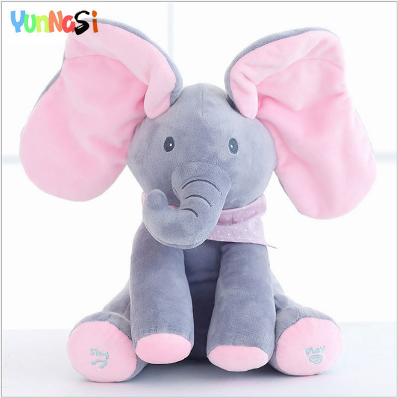 YunNasi 30cm Soft Elephant Music Sing Toy Hide Seek Stuffed Dolls Plush Pillow Birthday Valentine's Gifts For Girls Kids Toys 30cm peek a boo elephant plush toy stuffed animal music elephant doll play hide and seek lovely cartoon toy for kids baby gift
