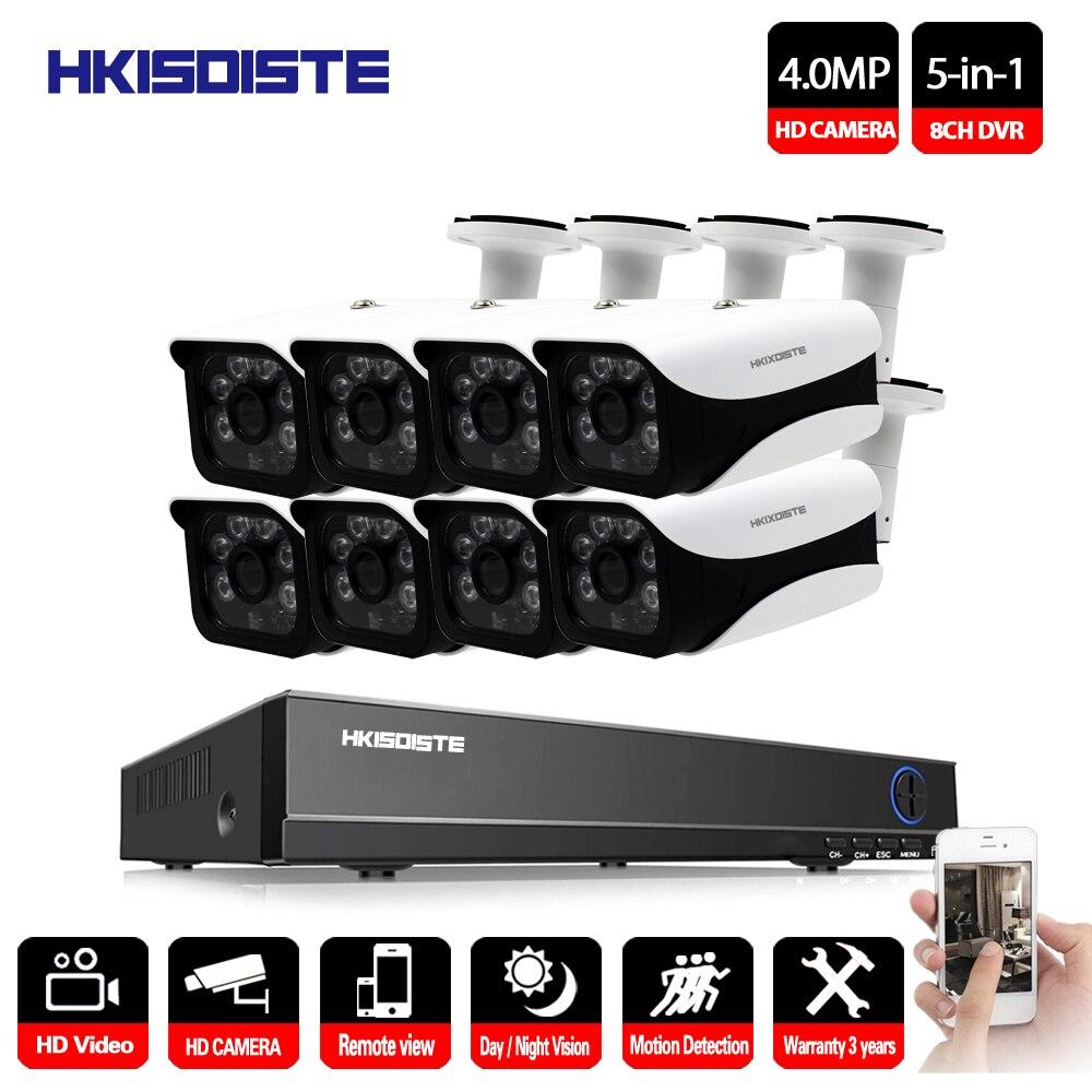 HKIXDISTE Full HD 8CH AHD 4MP Accueil Extérieure CCTV Caméra Système 8 Channel Surveillance caméra de sécurité kit avec dvr