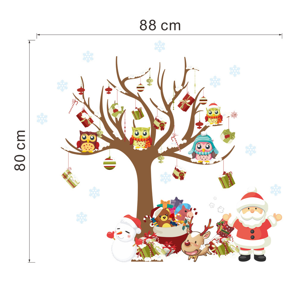 Christmas Decoration Cute Owls Tree Kids PVC Decal Stickers Shop Windows Decorative Santa Claus Wall Stickers