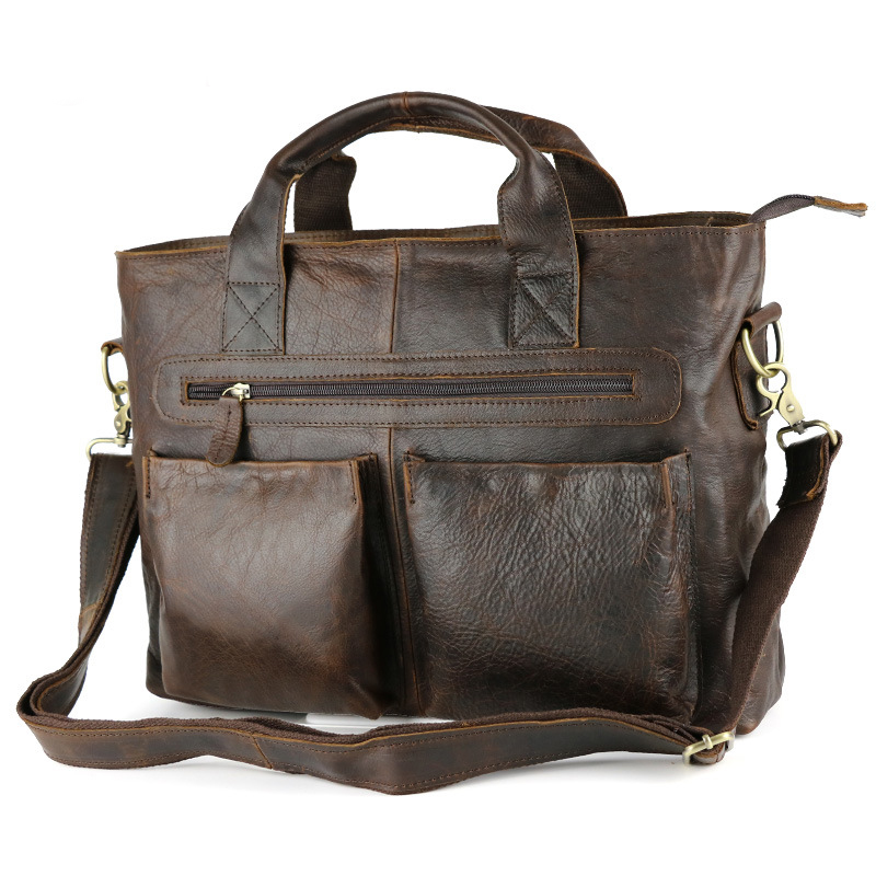 Genuine Leather Mens Vintage Briefcase Business Handbag Shoulder Messenger Satchels Crossbody Bags Weekend Casual Large Capacity