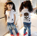 2016 crânio verão novo bebê meninas meninos camiseta roupa dos miúdos crianças roupas Tops manga curta t-shirt frete grátis