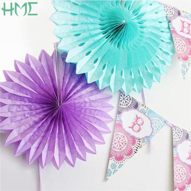 1PCS 8 Inch 20cm Flower Origami Paper Fan DIY Wedding Birthday Party Decorations Supplies
