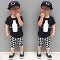 2016, лето, новый мальчиков комплект одежды bebe одежда костюм черная футболка топ + короткие штаны дети одежда мальчиков одежда дети набор