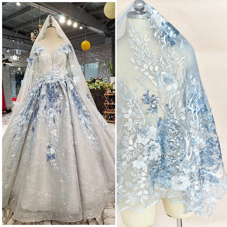 Multi-color Three-dimensional Beaded Matte Sequins Embroidered Lace Fabric Wedding Dress Cloth Handmade DIY Accessories 1piece