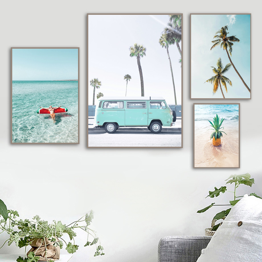 Image 3 - Palm Tree Pineapple Sexy Girl Sea Beach Wall Art Canvas Painting Nordic Posters And Prints Wall Pictures For Living Room Decor-in Painting & Calligraphy from Home & Garden