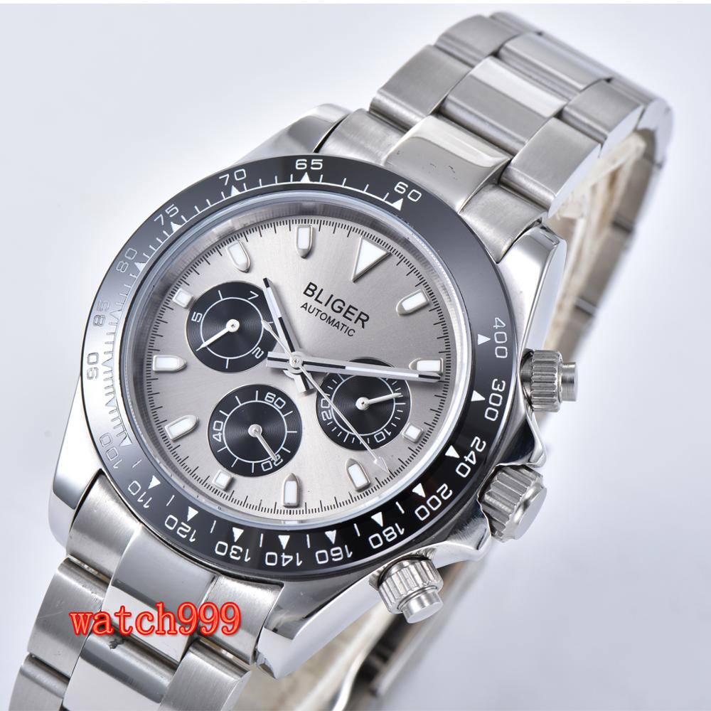 39mm BLIGER gray dial mineral glass steel case automatic movement  mens casual watch steel strap waterproof mechanical watchMechanical  Watches