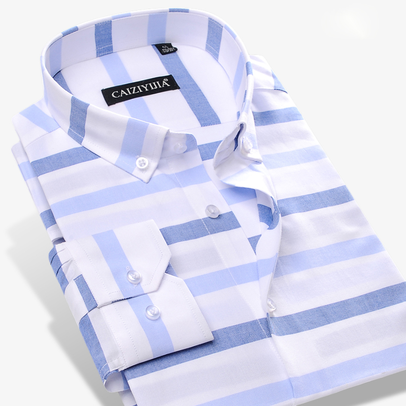 Men's Contrast Wide Horizontal Striped Dress Shirt Comfort Soft 100% Pure Cotton Casual Slim-fit Long Sleeved Button-down Shirts