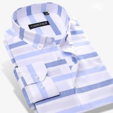 74ba9d0489 O Contraste dos homens Horizontais Largas Vestido Listrado Camisa Soft  Comfort 100% Puro Algodão Casual Slim-fit de Manga Compri.