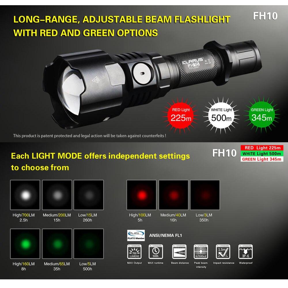 KLARUS FH10 Zoomable Tactique Chasse Lampe De Poche Torche 3000 mw Vert Rouge LED Lumière Blanche 700 Lumens 500 m Distance par 18650