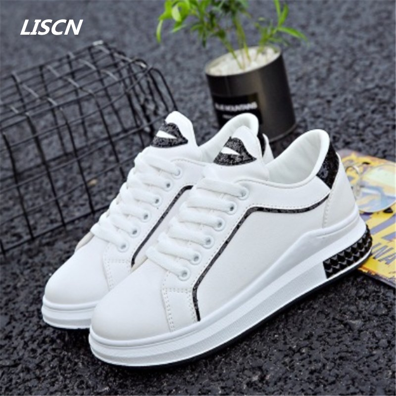 High quality Spring women sneakers White Shoes Women Fashion Flat Leather Canvas Shoes Female Shoes Casual Shoes tenis feminino ...