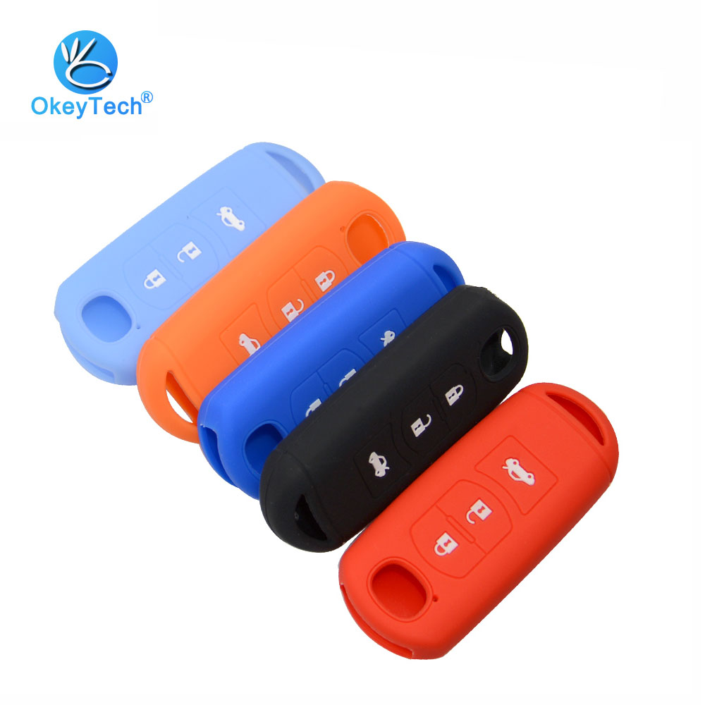OkeyTech For Mazda Silicone Key Case Smart Car Key Cover Fob Protector Skin 3 Button For 2 3 5 6 8 Atenza CX5 CX-7 CX-9 MX-5 RX