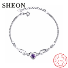 SHEON Angel Wings 925 sterling silver Angle Lovers Heart Inlaid Purple CZ Bracelet For Women Authentic Sterling Silver Jewelry