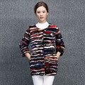 Genuine real natural mink fur coat women fashion fight color jacket female outwear waist coat