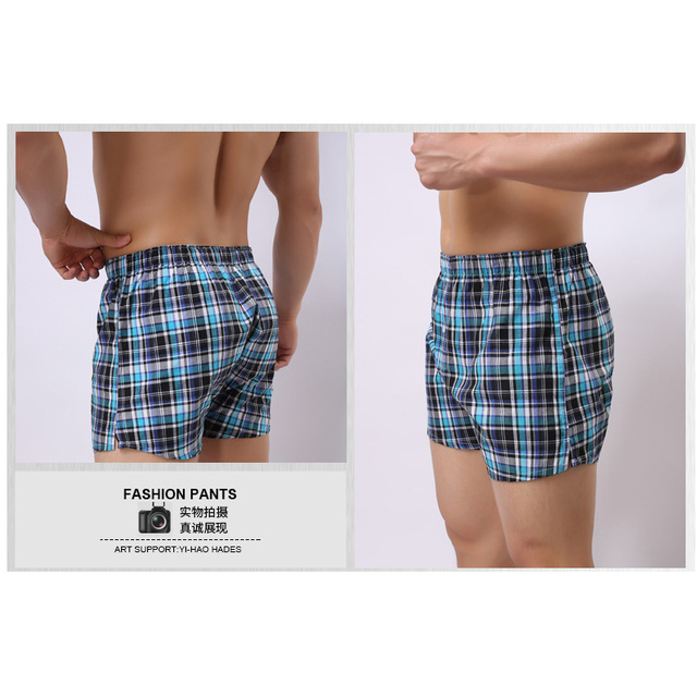 Free Shipping New Aro 100% male shorts cotton pajama loose lounge Plaid line Men's shorts beach