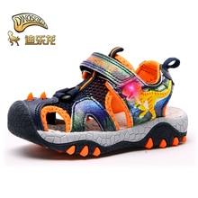 Dinoskulls Sandals Children LED Light Up Boys Summer Shoes 3D Dinosaur Glowing Beach Sandals Kids 2019 Toddler Boys Shoes
