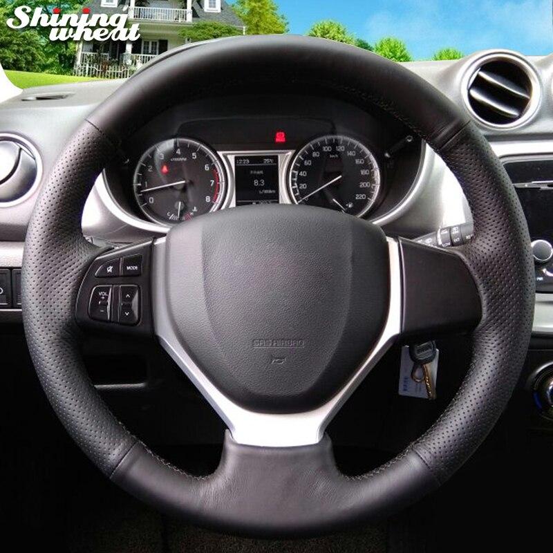 Couverture de volant de voiture en cuir véritable noir de blé brillant pour Suzuki Vitara 2015 Suzuki CELERIO S-CROSS SX4 2013 2014