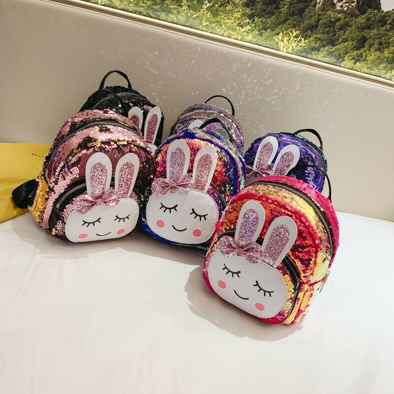 Kid Girls Sequins Backpack Glitter Bling Bunny Rabbit School Travel Rucksack Cartoon Storage Shiny Mini PU Shoulder Bag