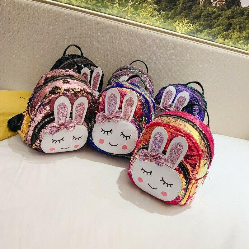 Kid Girls Sequins Backpack Glitter Bling Bunny Rabbit School Travel Rucksack Cartoon Storage Shiny Mini PU Shoulder Bag
