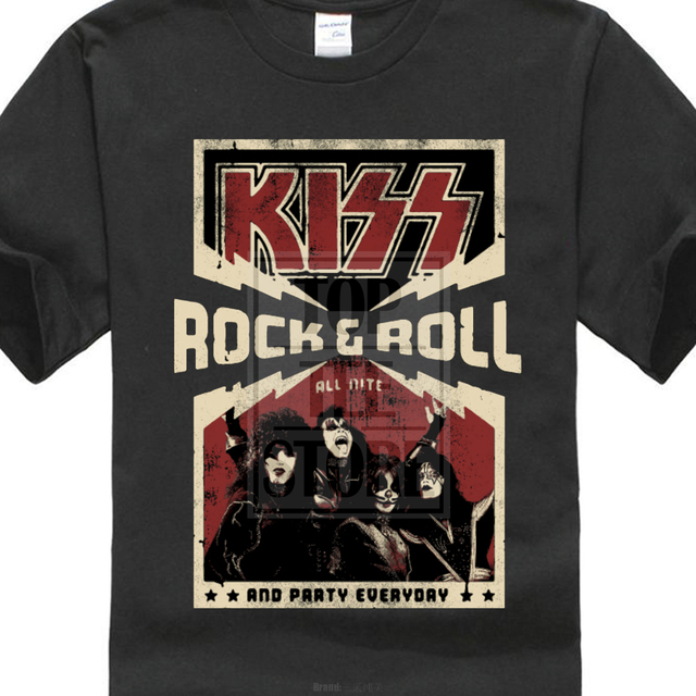 8521d0699f Kiss Rock & Roll All Nite Party Everyday Black T Shirt New Official Band  Merch