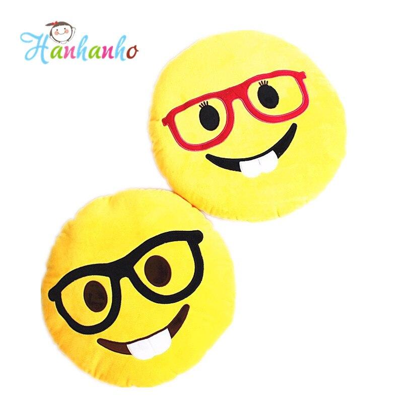 2016 New Arrival 32cm Whatsapp Emoji Pillow Wear Eyeglass Teeth Emoticon Round Cushion For Sofa Plush Toy