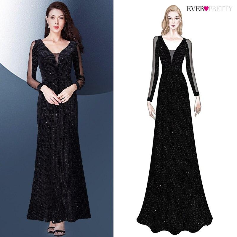 Вечерние платья 2019, с длинным рукавом, с милым v-образным вырезом, блестящие, элегантные, Русалочки, Осень-зима, длинное официальное вечернее ...