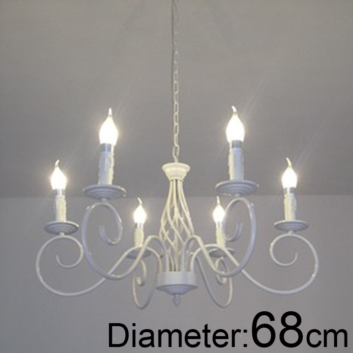 Modern vintage 6 arms classical Iron candle light white color E14 chandelier For foyer dinning room classical pavilion shape decorative candle holder without candle