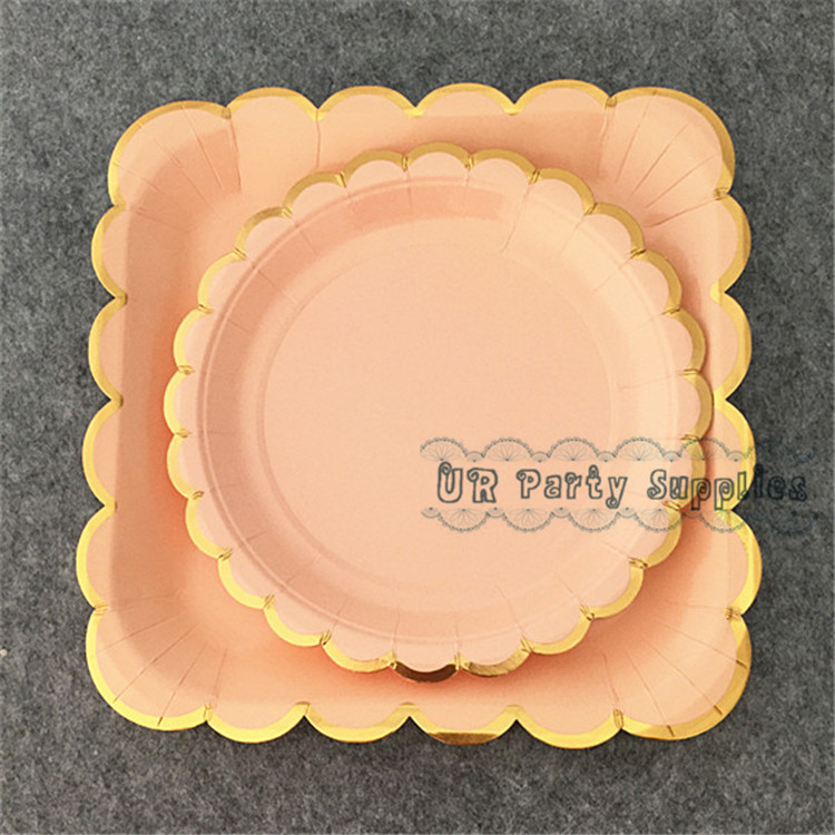 Free Ship 40pcs Coral Pink Foil Gold Paper Plates Cake Dessert Appetizers Dishes Sturdy Excellent Quality Paper Plates -in Disposable Party Tableware from ... & Free Ship 40pcs Coral Pink Foil Gold Paper Plates Cake Dessert ...