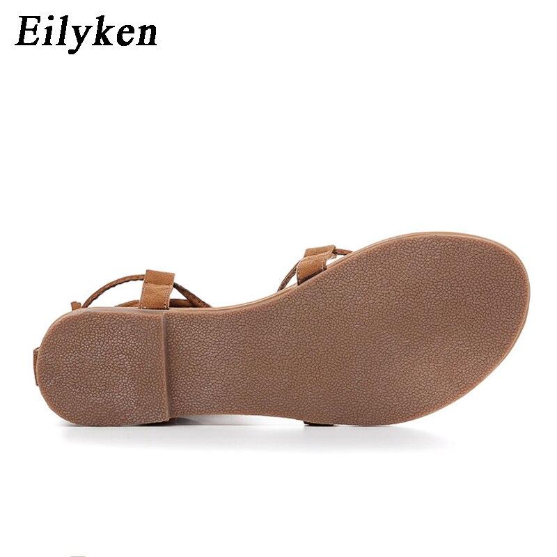 Eilyken Women Cross strap Knee high Summer Roman Gladiator Sandals Strappy Clip Toe thong Flat Heel Flip flops Flock Shoes