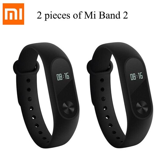 2 pièces D'origine Xiao mi mi Bande 2 bracelet connecté de fitness mi Bande 2 Bracelet moniteur de fréquence cardiaque IP67 moniteur de sommeil étanche