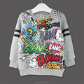 For Kids Sweatershirt Clothes T-Shirt Sweater Autumn Spring New Graffiti Cartoon Cat Letter Printing Next Boys Girls Bobo Choses