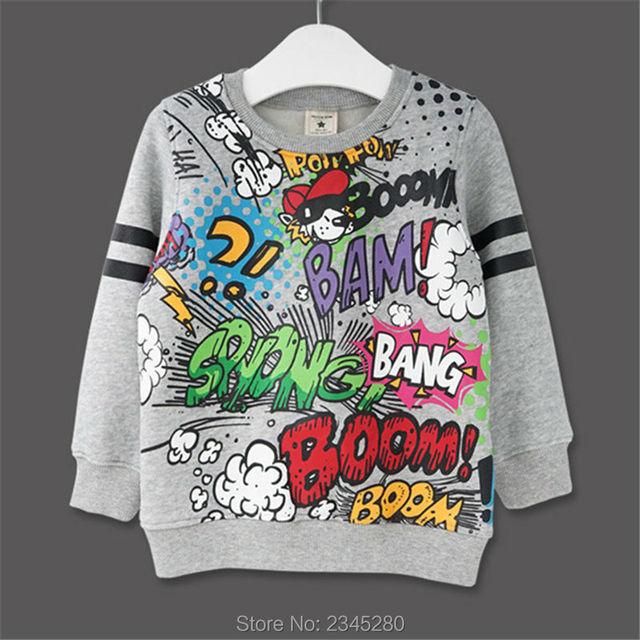 Para Crianças Sweatershirt Roupas T-Shirt Camisola Outono Primavera New Graffiti Dos Desenhos Animados Carta Gato Impressão Próximos Meninos Meninas Bobo Choses
