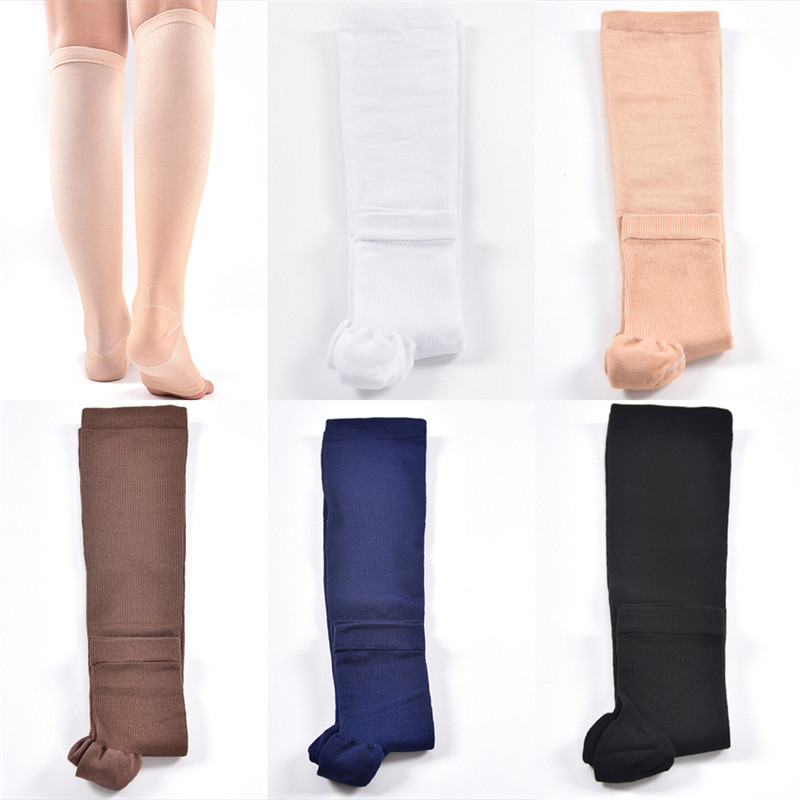 1 Pair  Compression Level Support Knee High Tip Open Varicose Socks Medical Elastic Toeless Socks