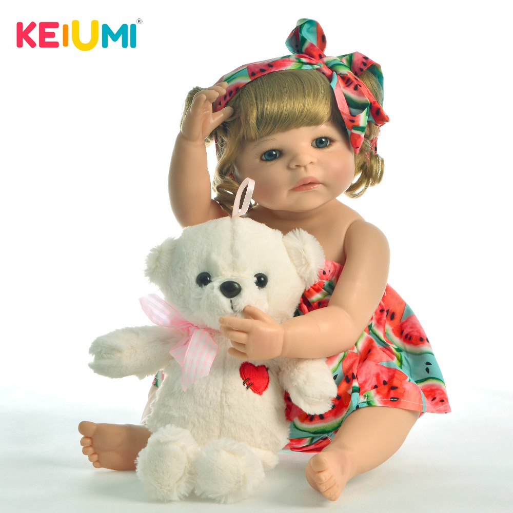 Collectible 22 Inch Reborn Baby Girl Doll Full Body Silicone Lifelike Princess Doll Babies Toy For