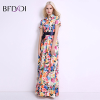 BFDADI Women Summer Dress 2017 New Fashion Print Maxi Dress Women Casual Elegant Lapel Floral Long