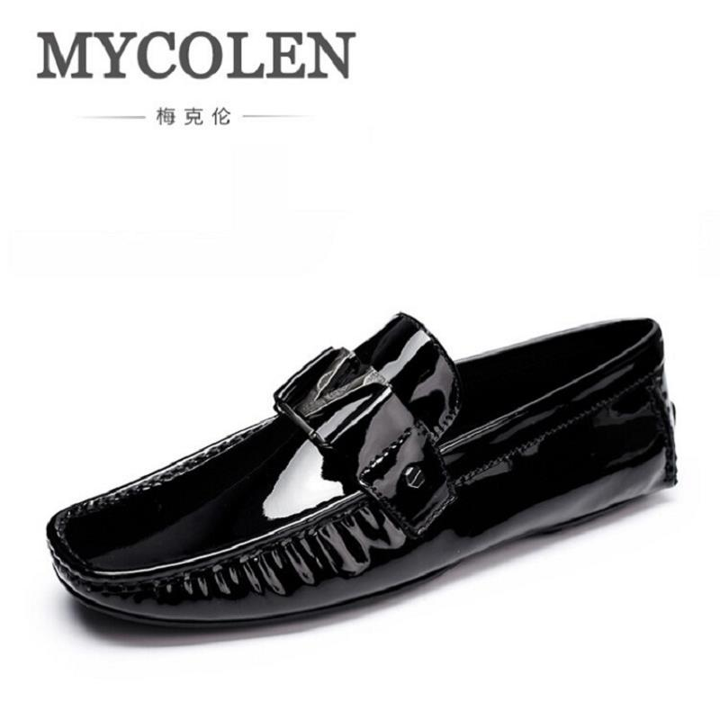 MYCOLEN British Style Mens Driving Shoes Luxury Brand Loafers Classic Designer Boat Shoes Men Black Casual shoes Plus Size 6-11 mycolen men loafers leather genuine luxury designer slip on mens shoes black italian brand dress loafers moccasins mens