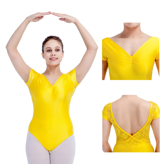 f2ebc4fdb Yellow Shiny Nylon Lycra Lace Cap Sleeve V Back Ballet Leotard Girls ...