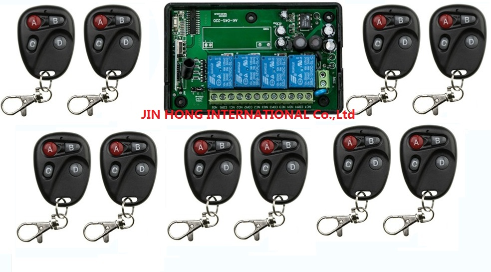 AC 110V 220V 240V RF 4CH Voltage Multi-Function Wireless Remote Control and Receiver Smart home & 10pcs remote & 1pcs receiver 1 pcs full range multi function detectable rf lens detector wireless camera gps spy bug rf signal gsm device finder