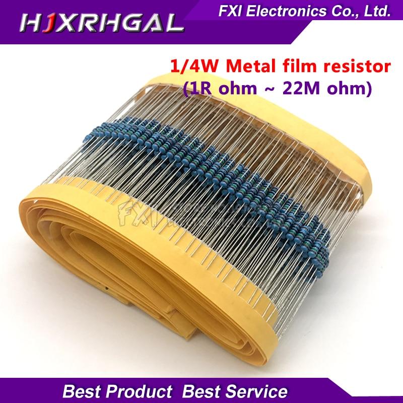 100pcs 1/4W 1R~22M 1% Metal Film Resistor 100R 220R 1K 1.5K 2.2K  4.7K 10K 22K 47K 100K 100 220 1K5 2K2  4K7 Ohm Resistance