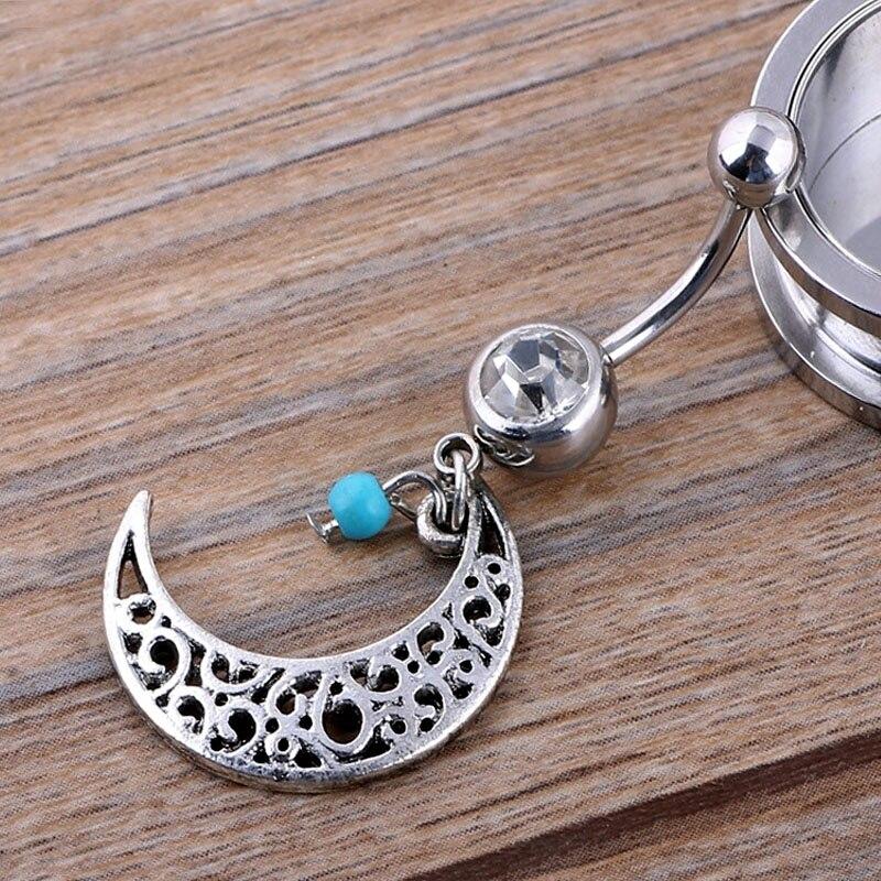 1 шт Нержавеющаясталь пирсинг пупка кольцо с Луны Подвеска для танца живота 14 г Украшения для тела