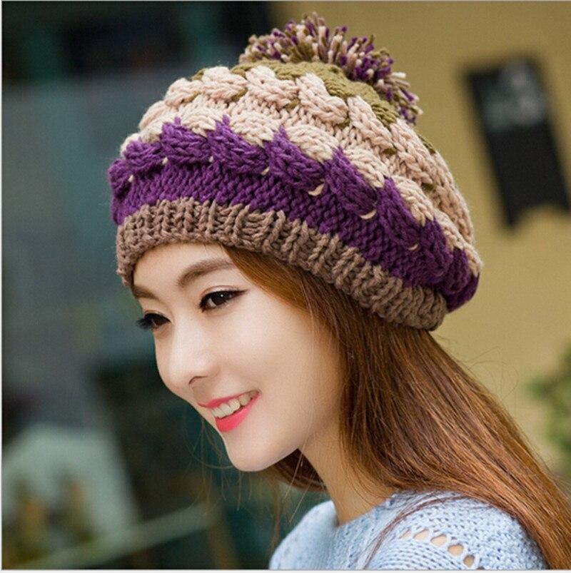 Dorable Para Mujer Patrn De Sombrero De Punto Ornamento Manta de