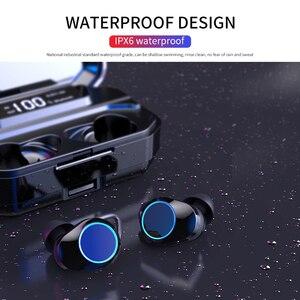 Image 5 - G02 v5.0 bluetooth fone de ouvido estéreo sem fio ipx7 à prova dwaterproof água toque fones de ouvido fone de ouvido 3300mah bateria display led tipo c caso de carga